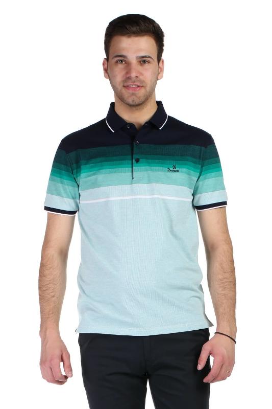 Tricou verde cu dungi bleumarin D9253-3 F1