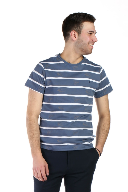 Tricou albastru cu dungi albe 019-1 F1