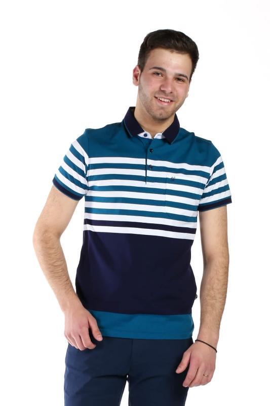 Tricou bleumarin cu dungi albe si albastre 9017-1 F1