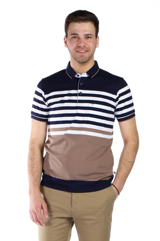 Tricou bleumarin cu dungi albe si bej 9017-2 F1