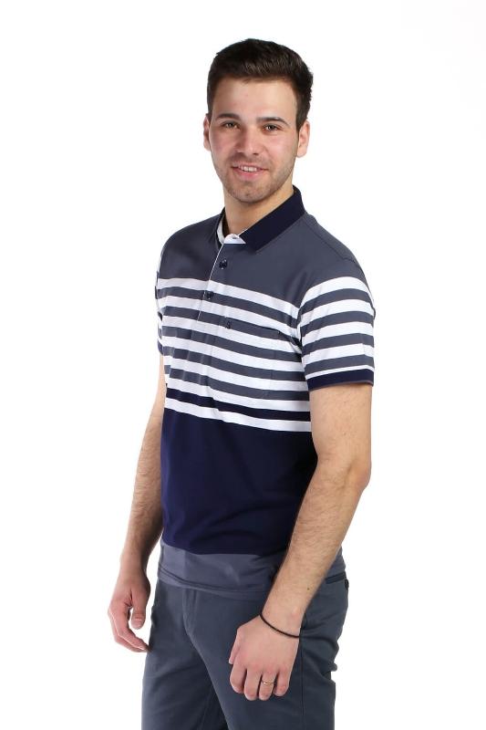 Tricou bleumarin cu dungi albe si gri petrol 9017-3 F1