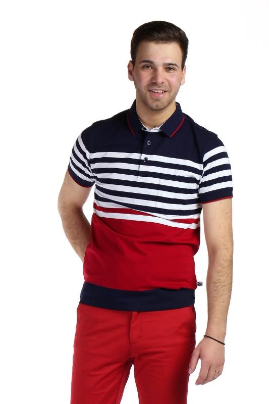 Tricou bleumarin cu dungi grena si galbene albe 9017-4 F1