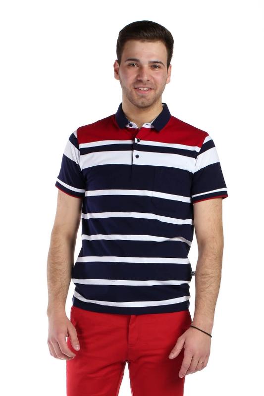 Tricou bleumarin cu dungi albe si rosii 021-1 F1