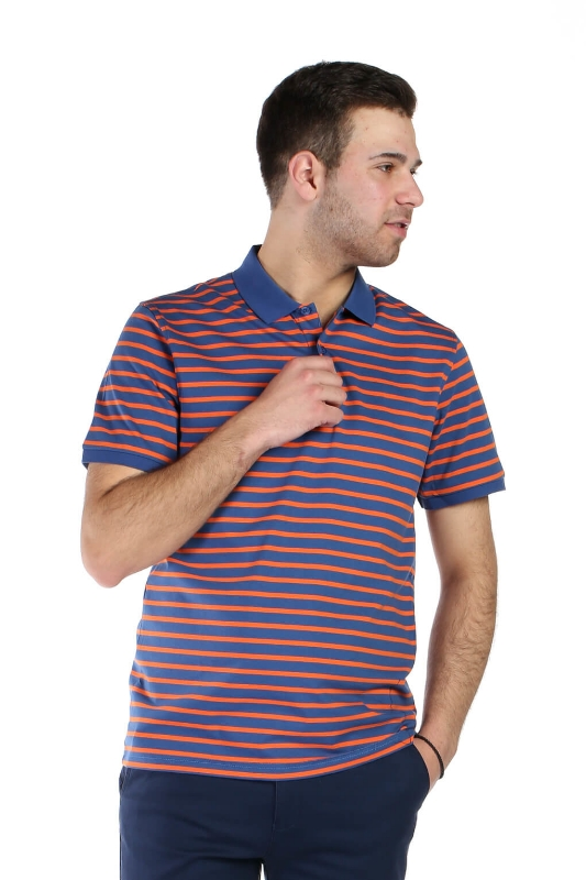 Tricou albastru cu dungi portocalii 8011-1 F1