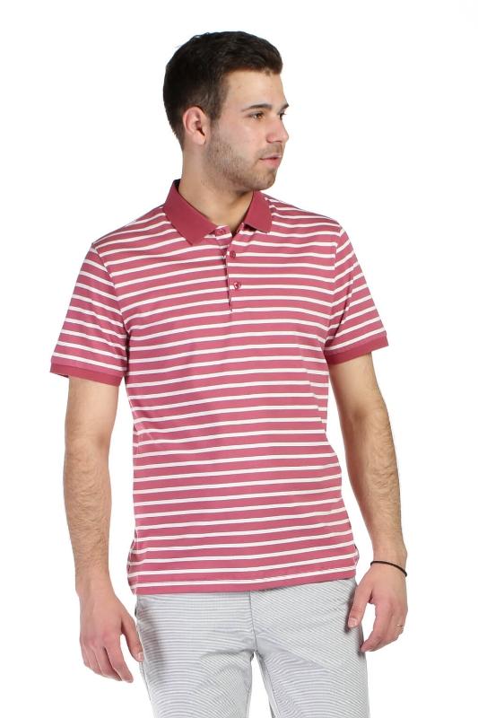 Tricou roz cu dungi albe 8011-2 F1