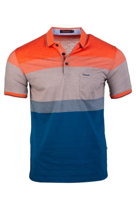 Imagine Tricou albastru cu model portocaliu-bej 9119-1