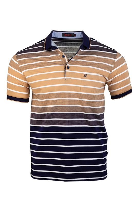 Imagine Tricou bleumarin cu dungi bej B2102-2