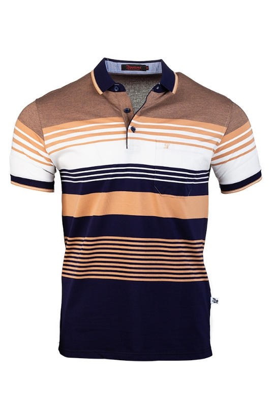 Imagine Tricou bleumarin cu dungi bej B2106-2