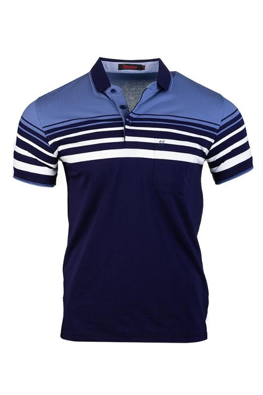 Imagine Tricou bleumarin cu dungi albe si bleu B2112