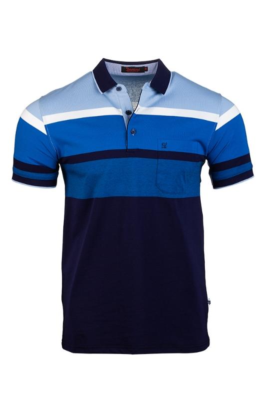 Imagine Tricou bleumarin cu dungi albastre si bleu S8211